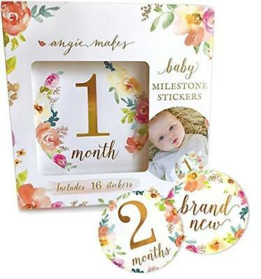 Baby Monthly Milestone 16 Stickers Photography Floral Girls 0 to 12 Months Gold
