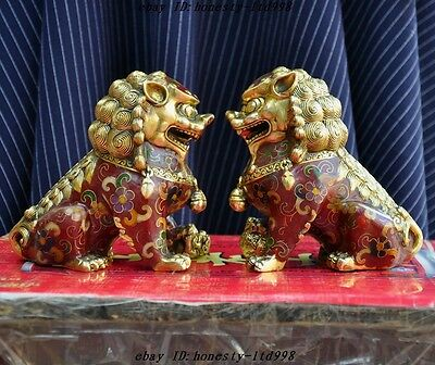 Old China bronze Cloisonne fengshui lion foo dog beast Evil spirits statue pair