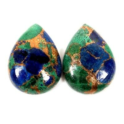 Supreme AZURITE Copper Mohave 16x12 mm Pear Cabochon Gems Pair 15.5 Cts S-30889