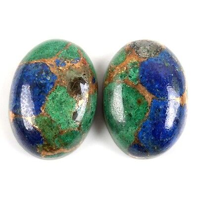 Oval Pair 13.50 Cts AZURITE COPPER MOHAVE Gemstone 14x10 mm S-25984
