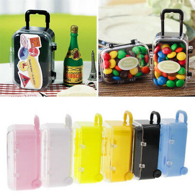 Mini Rolling Travel Suitcase Wedding Favors Party Reception Baby Candy Box BS