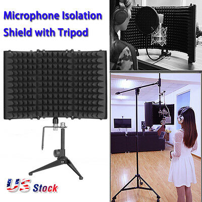 Studio Microphone Shield + Tripod Reflection Filter Screen Vocal Booth US Stock