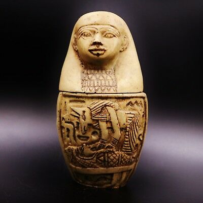 Fine Antique Egyptian Imsety head Canopic Jar,Organs Storage Statue LARGE