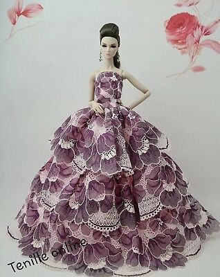 New Barbie doll clothes outfit princess wedding gown dress purple