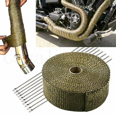 10M Titanium Heat Wrap Exhaust Manifold Tape +10 Stainless Steel Cable Ties 30cm