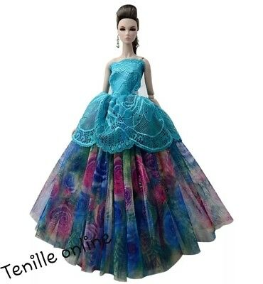 New Barbie doll clothes outfit princess wedding gown dress blue lace and shoes