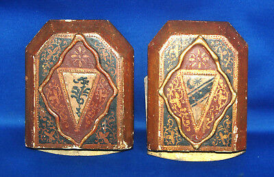 A pair of antique Florentine gothic medieval heraldic style hand painted bookend