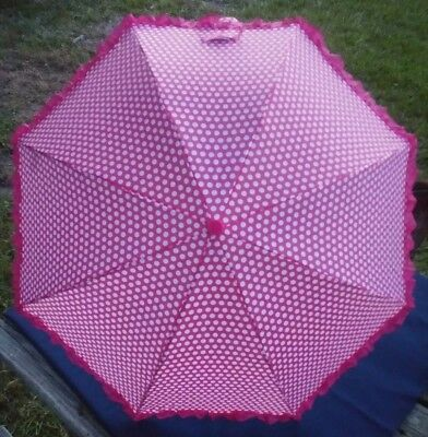 Kids Umbrella Girls Pink/White Windproof Folding Cool Best Toddler Gift
