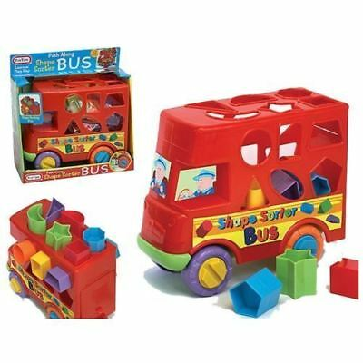 SHAPE SORTER Red BUS push along Baby and Toddler sorting Toy NEW
