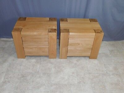 2 Chunky Solid Oak Wood 2 Drawer Bedside Table Cabinet Nightstand WHG1#887