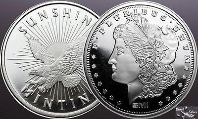Lot of 2-1 oz Silver Rounds: SMI Eagle & Morgan **.999 fine & with MintMark SI**