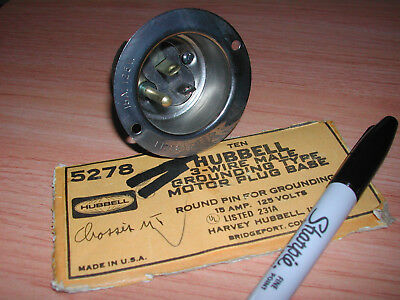 Hubbel 5278 3-wire Grounding Motor Plug Base 15 Amps 125 Volts NOS