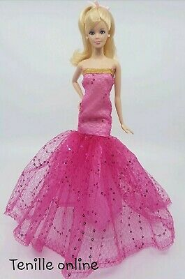 New Barbie clothes outfit princess wedding dress gown veil pink lace