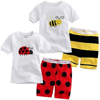 Kids Baby Boys Summer Outfits Cute Cartoon Print Casual Top + Short Pants Set