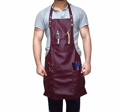 Professional Salon Barber Stylist Unisex (1 size fits all) Maroon Leather Apron