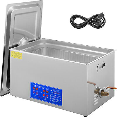 30L Qt 380W Digital Heated Industrial Ultrasonic Parts Cleaner W/ Timer & Basket