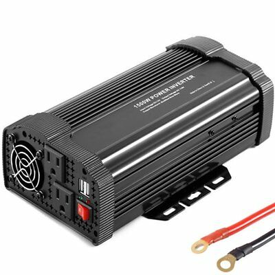 Auto Power Inverter for Car DC 12V to AC 110V Outlet USB Adapter Charger 1500W T