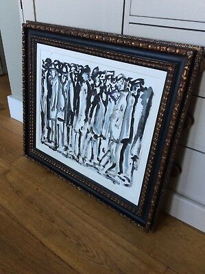 John Thompson Northern Art Large Original Mixed Media Signed Group Lowry Genre