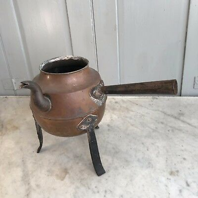 Antique Arts & Crafts copper kettle on stand