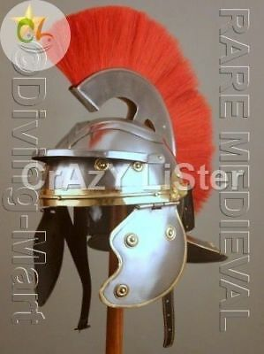 New Medieval Centurian Helmet Armor Red Crest Plume Gladiator Reenctment