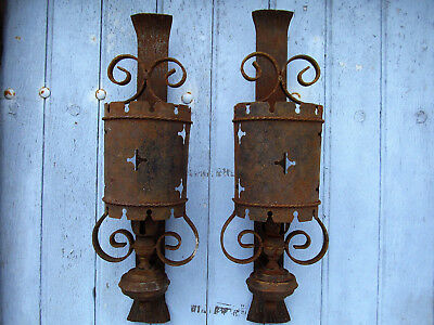 An amazing large pair of French Antique Medieval chateau wall lights.