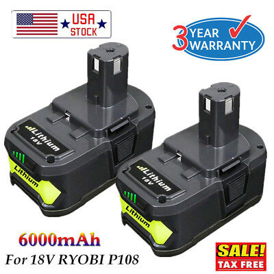 2XFor P108 Ryobi 18V 6.0Ah Lithium Ion Battery Pack Replaces P107 P105 P103 P102