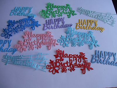 Mixed Die Cut Happy Birthday Sentiment Word Phrase Embellishment Pack of 12