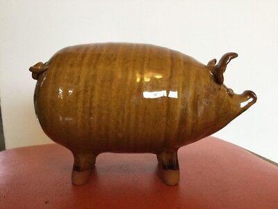 Individually Modelled and Decorated Tamworth Studio Pottery Pig Piggy Bank Box