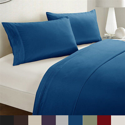 1000TC 4 Pieces Set Ultra Soft Bed Linen Sheets For Single/KS/Double/Queen/King