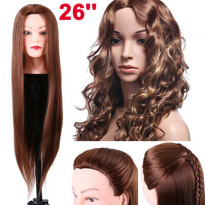 26'' 30% Real Hair Hairdressing Practice Training Head Mannequin Doll With Clamp