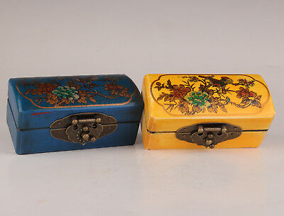 2 Old Wood Leather Hand-Applique Blue Yellow Combination Jewelry Box Antique Sty