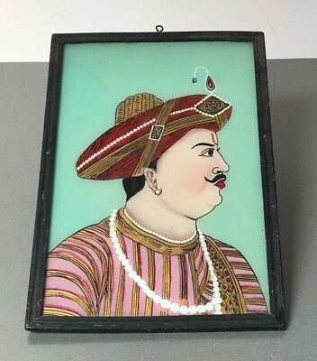 Vintage Indian Reverse Glass Painting. Decorated Rajput Prince. Rajasthan.