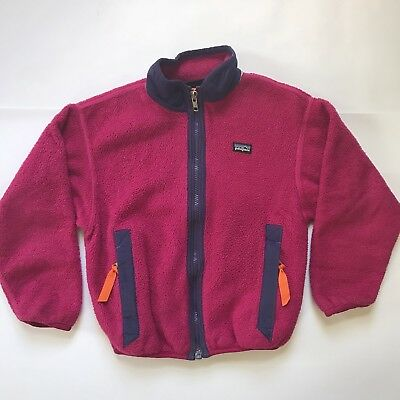Vintage Kids Patagonia Fleece Zip Up Size 6/6X Girls Magenta Pink