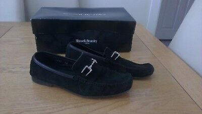 Russell & Bromley 'snaffle' Mens Black Suede Loafer Shoes - Uk 7 / 40