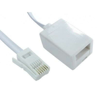 BT Telephone RJ11 Extension Cable Lead Phone Line Fax Modem Socket 2m to 20Meter