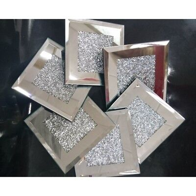 New Stunning Glitz Mirrored Glass Crushed Crystal Set of 4 Square Coasters
