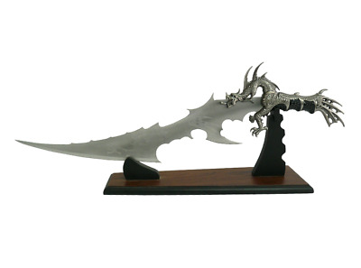 Rider Dragon Fantasy Sword Knife Stainless Steel  with Etched Blade on STAND