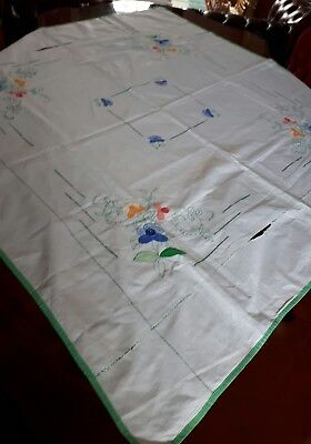 Stunning Vintage Hand Embroidered Tablecloth with Embroidery Floral Design