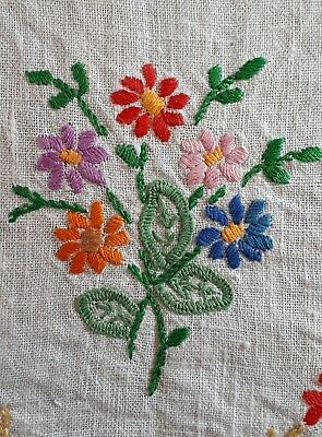 Beautiful Hand Embroidered White Small Vintage Table Cloth Occasional Tablecloth