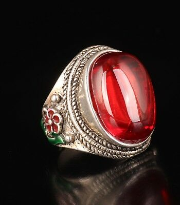 Ring Tibetan Silver Cloisonne Inset With Red Zircon Precious Old Gift Jewelry C