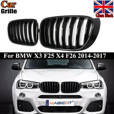 Front Kidney Grille Grill Glossy Black For Bmw X3 F25 Facelift X4 F26 2014 2016