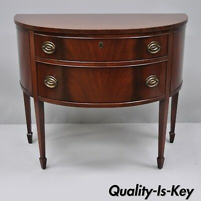 Antique Mahogany Bow Front Demilune Small Server Commode Sheraton Style by Finch