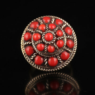 Old Red Coral Rings Are Inlaid With Silver Tibet