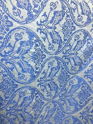 White Royal Blue Damask Chenille Upholstery Fabric 54 In Sold By