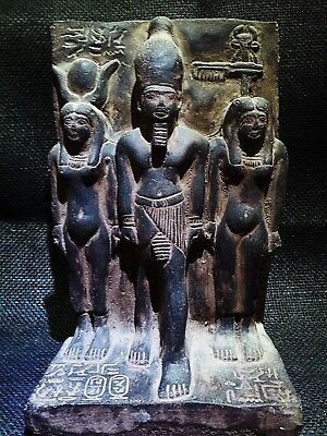 EGYPTIAN ARTIFACT ANTIQUITIES Menkaure with Bat & Hathor Stela 2530–2500 BC