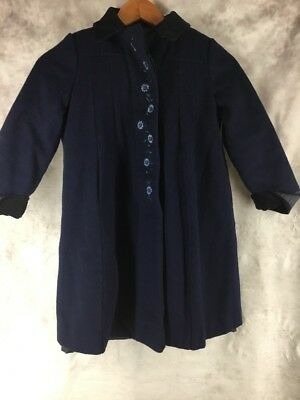 Rothschild Winter Dress Coat Girls Size 6 Blue 100% Wool