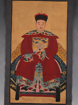 Old Qing Dynasty China Emperor Cloth Painting Sacred Sacred