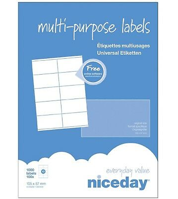 1000 Etiquetas Multi-Purpose labels 105x57 mm 10 etiquetas por folio impresoras