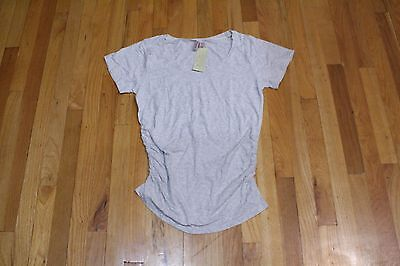 82b80be37a1 Oh! Mamma Maternity Short Sleeve Tee Side Ruching Heather Gray Size Large  New