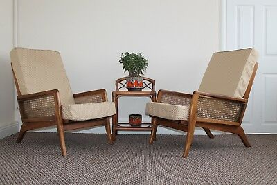A Vintage Pair Of 1940s CURTIS'S - London Teak & Rattan Armchairs Chair Danish